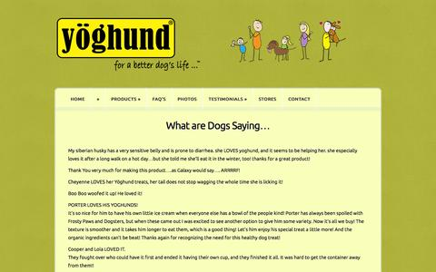 Screenshot of Testimonials Page yoghund.com - What are Dogs Saying…   Yoghund - captured Oct. 9, 2014