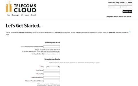 Screenshot of Signup Page telecomscloud.com - Telecoms Cloud - Sign Up - captured May 23, 2017