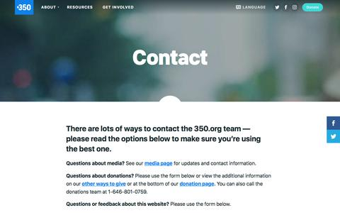 Screenshot of Contact Page 350.org - 350.org  – Contact - captured Sept. 22, 2018