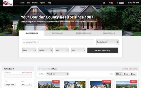 Screenshot of Home Page topboulderhomes.com - Angel Realty, LLC-Your Boulder County Realtor since 1987. Specializing in the Front Range Communities of Colorado with Integrity You can Trust in. - captured Jan. 21, 2015