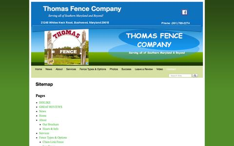 Screenshot of Site Map Page somdfence.com - Sitemap - Thomas Fence Company - Links to Fence related pages - captured Jan. 15, 2016