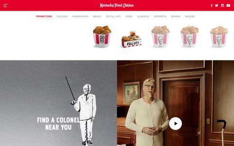 Screenshot of Home Page kfc.com - KFC: Finger Lickin' Good - captured Oct. 1, 2015