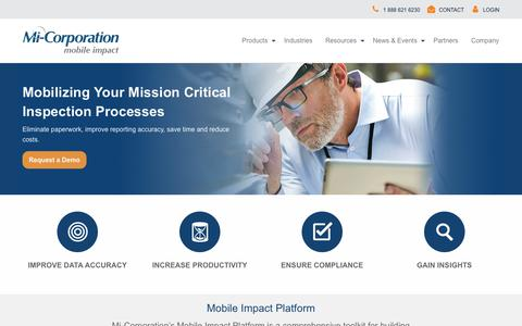 Screenshot of Home Page mi-corporation.com - Powerful Mobile Form Solutions & Mobile Inspection Software - Mi-Corporation - captured March 12, 2019