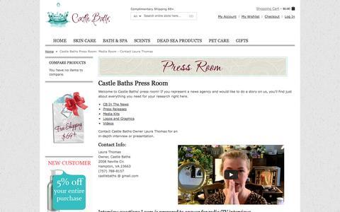 Screenshot of Press Page castlebaths.com - Castle Baths Press Room: Media Room - Contact Laura Thomas - captured Sept. 19, 2014