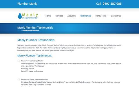 Screenshot of Testimonials Page manlyemergencyplumber.com.au - Manly Plumber Testimonials « Manly Emergency Plumber Manly Emergency Plumber - captured Sept. 30, 2014
