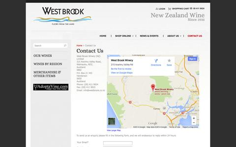 Screenshot of Contact Page Terms Page westbrook.co.nz - Contact Us | West Brook Winery - captured Oct. 25, 2014