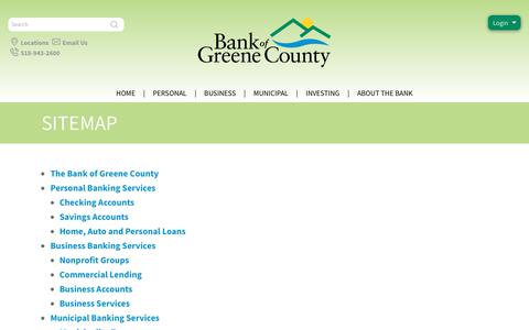 Screenshot of Site Map Page thebankofgreenecounty.com - The Bank of Greene County Site Map - captured June 16, 2017