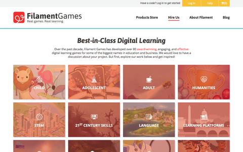 Screenshot of Services Page filamentgames.com - Best-in-Class Digital Learning Development Services   Filament Games - captured Jan. 8, 2016