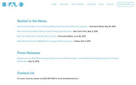 Screenshot of Press Page sealed.com - News — Sealed - captured July 3, 2016