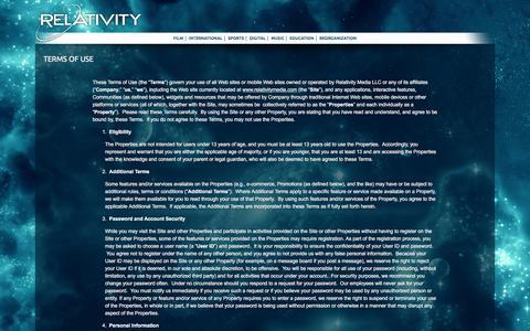 Screenshot of Terms Page relativitymedia.com - Terms of Use - Relativity Media Corporate - captured Jan. 23, 2016