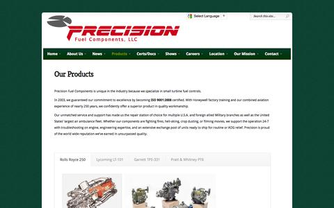 Screenshot of Products Page precisionfuel.com - Our Product Offerings | Precision Fuel Components, LLC - captured Oct. 2, 2014