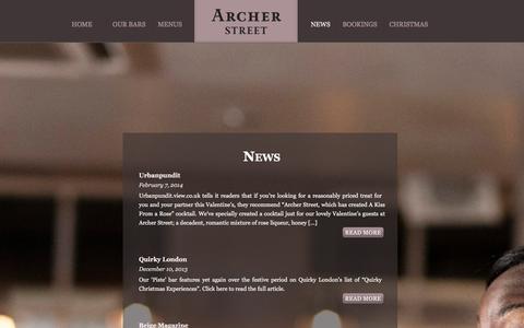 Screenshot of Press Page archerstreet.co.uk - Archer Street Đ Soho Bar | News - captured Dec. 26, 2015