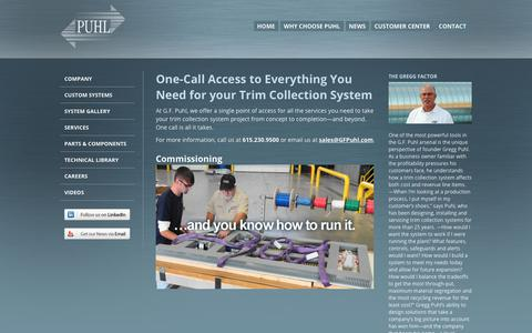 Screenshot of Services Page gfpuhl.com - Single Point Of Access For All Trim Collection System Project Services   G.F. Puhl - captured Nov. 4, 2018