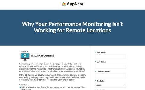 Screenshot of Landing Page appneta.com - End-User Performance Monitoring for Remote Locations - captured Oct. 3, 2018