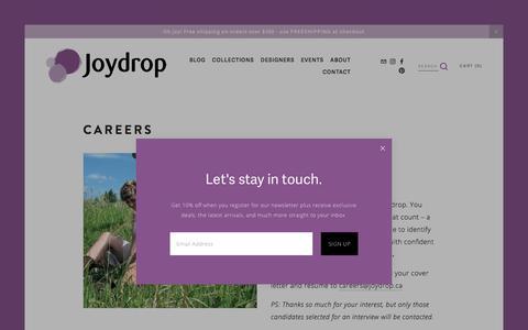Screenshot of Jobs Page joydrop.ca - Careers — Joydrop   Calgary Jewellery - captured Sept. 20, 2018