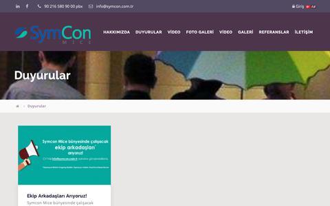 Screenshot of Press Page symcon.com.tr - SymCon / Duyurular - captured Nov. 17, 2018