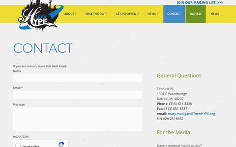 Screenshot of Contact Page teenhype.org - Contact - Teen HYPE - captured Oct. 20, 2018