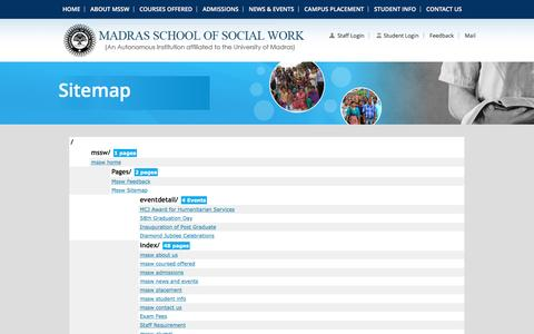 Screenshot of Site Map Page mssw.in - Mssw Sitemap - captured June 16, 2016