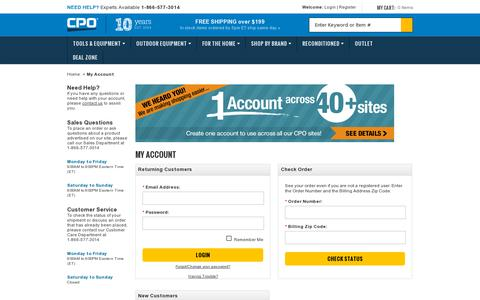 Screenshot of Login Page cpooutlets.com - CPO Outlets   | My Account - captured July 19, 2014