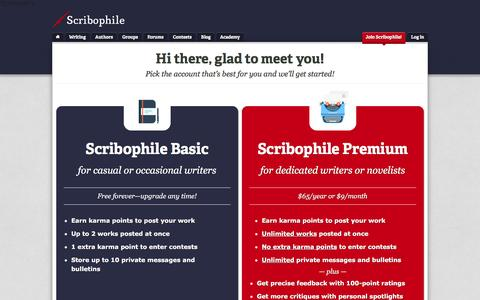 Screenshot of Signup Page scribophile.com - Join Scribophile! - Writing group and online writing workshop for serious writers | Scribophile - captured Jan. 12, 2016