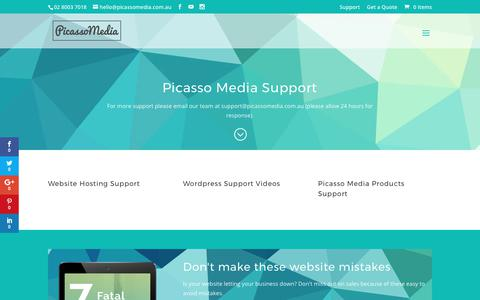Screenshot of Support Page picassomedia.com.au - Support - Picasso Media - captured Aug. 1, 2017