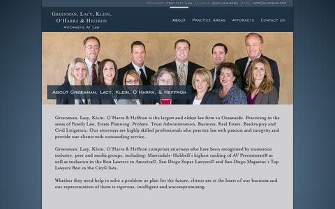 Screenshot of About Page glkohlaw.com - About Greenman, Lacy, Klein, O'Harra, & Heffron   Greenman, Lacy, Klein, O'Harra & Heffron - captured Oct. 3, 2014