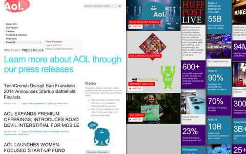 Screenshot of Press Page aol.com - Press Room - AOL Corp - captured Sept. 10, 2014