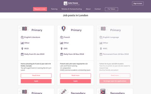 Screenshot of Jobs Page tutorhouse.co.uk - Jobs posts in London | Tutor House - captured Nov. 17, 2018