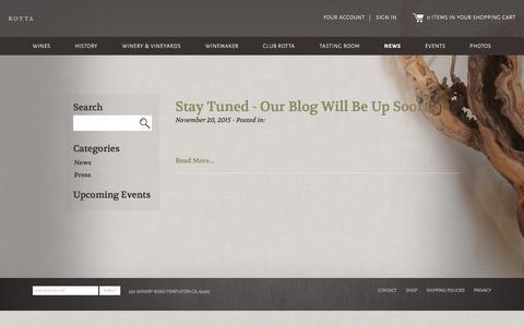 Screenshot of Press Page rottawinery.com - Rotta Winery | News - captured Jan. 11, 2016