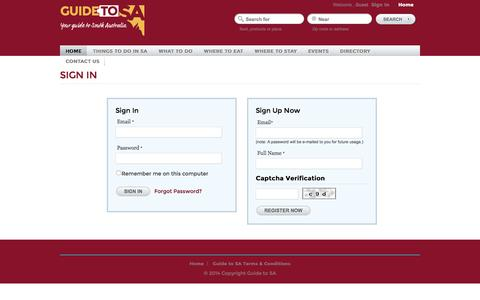 Screenshot of Login Page guidetosa.com.au - Site Registration and Login Form|Guide to South AustraliaYour Guide to South Australia|Guide to South Australia - captured May 23, 2016