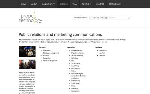 Screenshot of Services Page propel-technology.com - Services - B2B PR and marketing agency that increases sales and builds reputations - captured Oct. 28, 2014