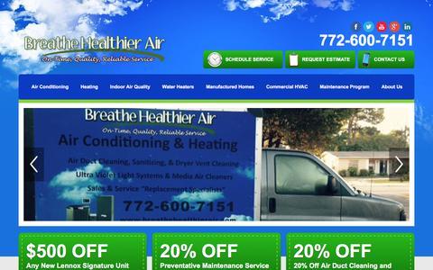 Screenshot of Home Page breathehealthierair.com - HVAC & Water Heater Company   Stuart, FL   Breathe Healthier Air - captured Jan. 22, 2016