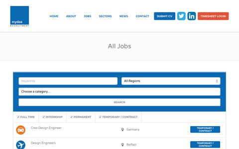 Screenshot of Jobs Page mydasrecruitment.com - Jobs Archive - Mydas Recruitment - captured Sept. 21, 2018
