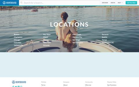 Screenshot of Locations Page boatbound.co - City Boating Guides - Boatbound - captured Nov. 11, 2015
