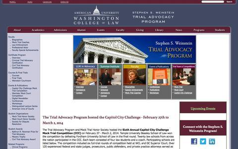 Screenshot of Trial Page american.edu - Stephen S. Weinstein Trial Advocacy Program - American University Washington College of Law - captured Sept. 18, 2014