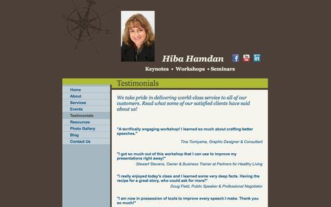 Screenshot of Testimonials Page hibahamdan.com - Hiba Hamdan - Testimonials - captured Oct. 2, 2014