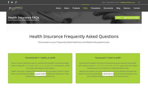Screenshot of FAQ Page essentialmed.co.za - Health Insurance Frequently Asked Questions | Essential Med - captured Dec. 12, 2015