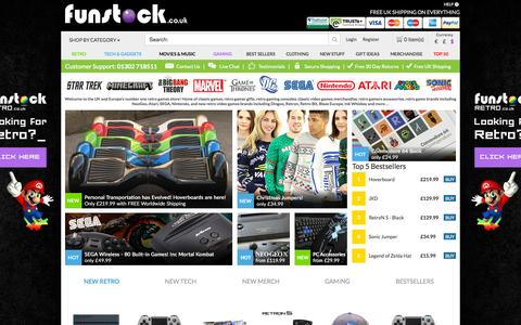 Screenshot of Home Page funstock.co.uk - Funstock.co.uk | Retro Games, Classic Game Consoles, Gamer Accessories, Gaming Gifts - captured Oct. 2, 2015