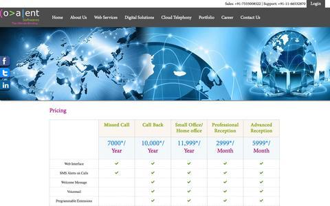 Screenshot of Pricing Page covalentsoftwares.com - Covalent Softwares Pvt. Ltd. - captured Oct. 3, 2014