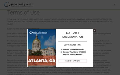 Screenshot of Terms Page globaltrainingcenter.com - Global Training Center - Terms of Use - captured July 10, 2018