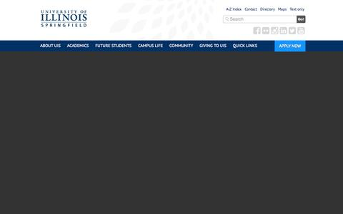 Screenshot of Home Page uis.edu - University of Illinois Springfield – UIS - captured Sept. 23, 2014