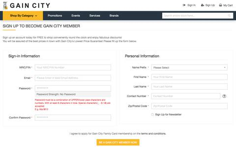 Screenshot of Signup Page gaincity.com - Sign Up to become Gain City member | Gain City Online Store - Aircon, TV, Laptop, Mobile Phone, Appliances and Services - captured Sept. 22, 2018