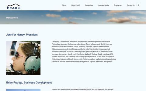 Screenshot of Team Page peak3inc.com - Management | Peak 3 - captured Sept. 29, 2014