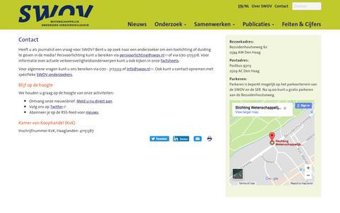 Screenshot of Contact Page swov.nl - Contact | SWOV - captured Oct. 3, 2017