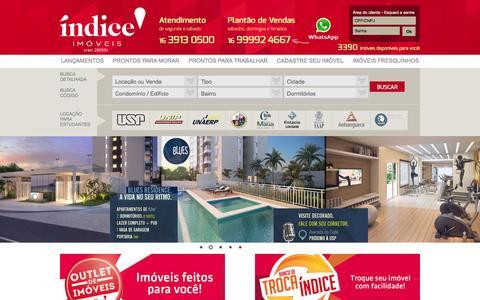 Screenshot of Home Page indiceimoveis.com.br - Imobiliária, Imóveis, Ribeirão Preto, Locação, Aluguel, Comprar, Casas - captured Feb. 29, 2016