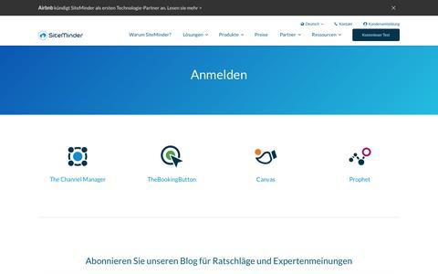 Screenshot of Login Page siteminder.com - Anmeldung - Erhalten Sie Zugang zu der Plattform von SiteMinder - captured Oct. 21, 2018