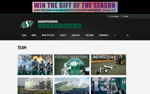 Screenshot of Team Page riderville.com - Team - Saskatchewan Roughriders - captured Feb. 4, 2016
