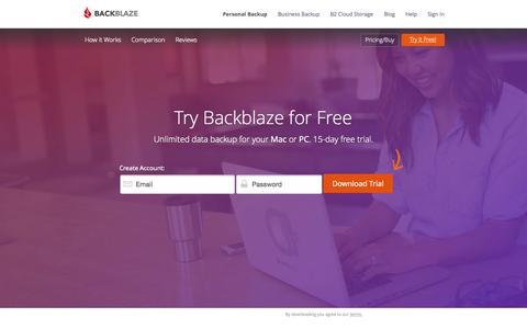 Screenshot of Trial Page backblaze.com - Download Free Trial of Online Backup - Easy, Secure Online Backup Services |    Backblaze - captured Nov. 14, 2015