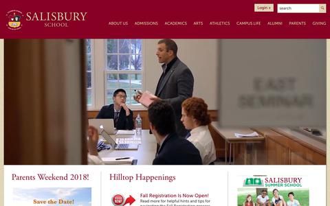 Screenshot of Home Page salisburyschool.org - Private All Boys Boarding High School | Connecticut's Salisbury School - captured July 25, 2018