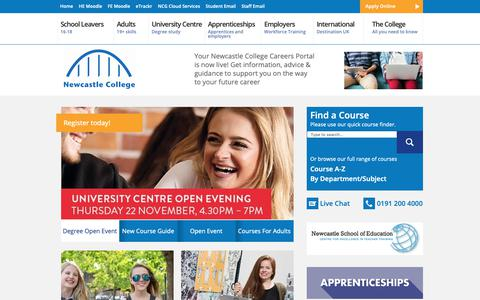 Screenshot of Home Page ncl-coll.ac.uk - Newcastle College | Unlock Your Potential - captured Nov. 20, 2018